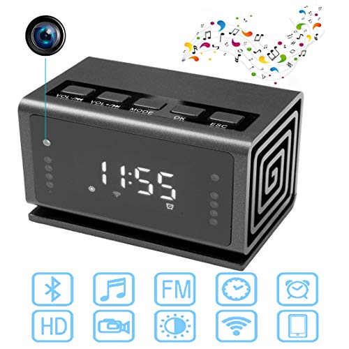 Hidden Spy Camera Clock,1080P HD WiFi Camera Alarm Clock for Home,Night Vision/Motion Detection/Bluetooth Speaker/FM Radio Clock