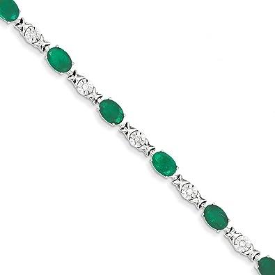 c61b462b81639 Amazon.com: 14K White Gold Diamond and Emerald Bracelet: Jewelry