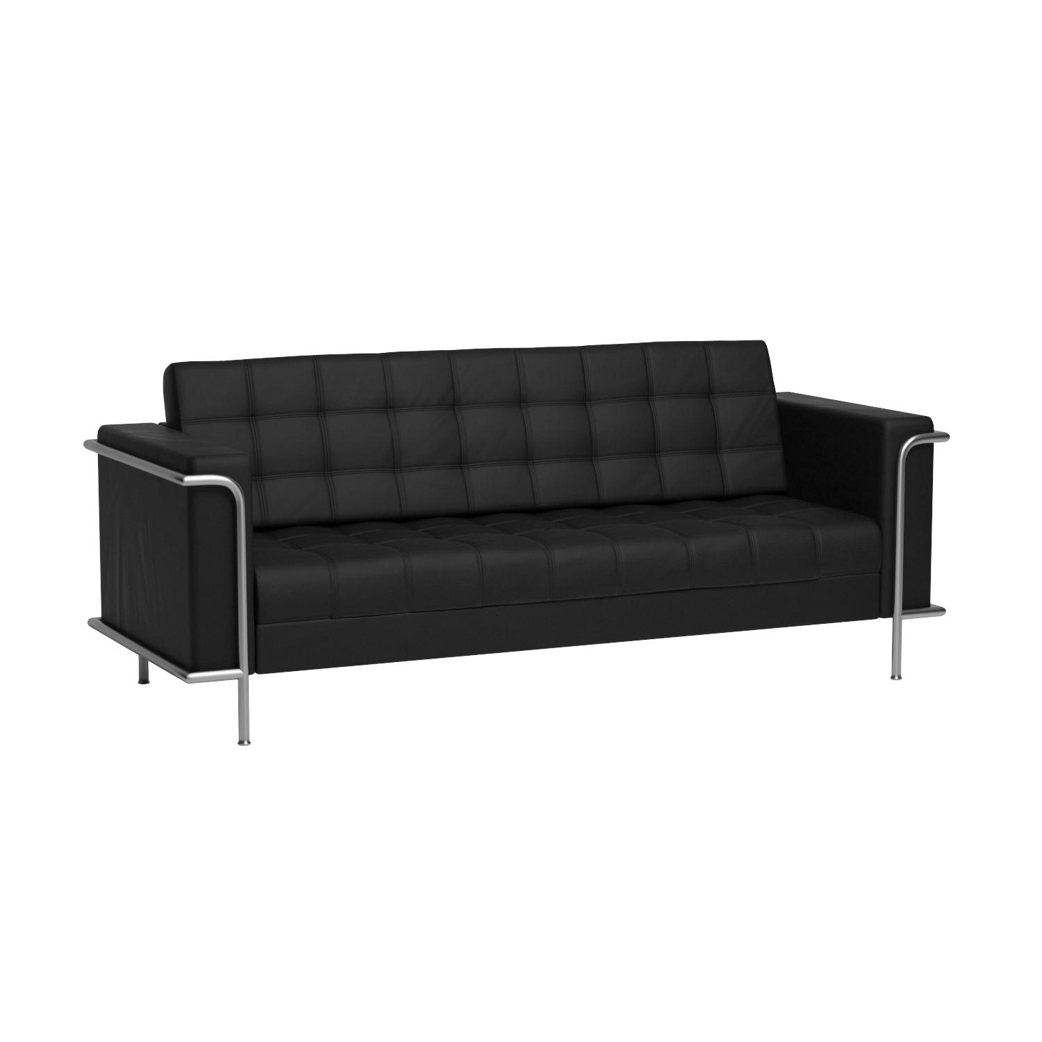 Amazon.com: Flash Furniture HERCULES Lesley Series Contemporary Black  Leather Sofa With Encasing Frame: Kitchen U0026 Dining