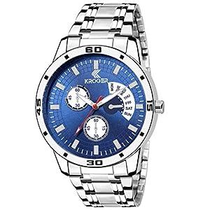 K-KROGER Metallic Stainless Steel Analog Blue Dial Watch Men's & Boys Wristwatch KRG1124