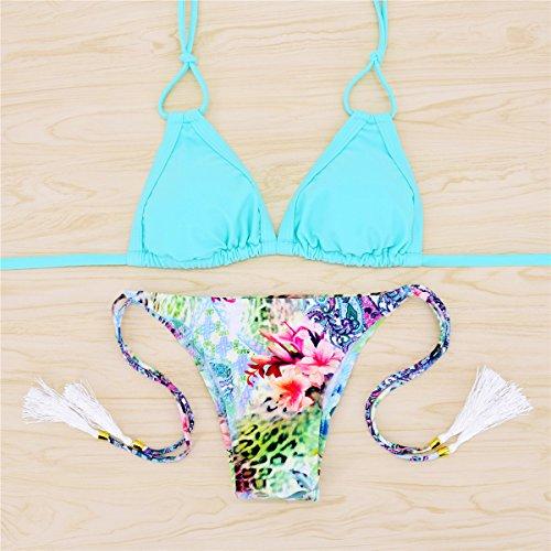 SHISHANG Las señoras del traje de baño traje de Europa y los Estados Unidos atractivo del traje de baño del bikini de secado rápido de tejer apretado blue leopard with flowers