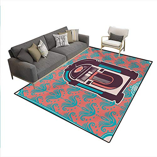Floor Mat,Floral Paisley Inspired Backdrop Music Box Retro Party Print,Rugs Bedroom,Turquoise Coral Dried ()