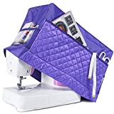 Sewing Machine Cover with 3 Convenient Pockets - Protective Quilted Dust Cover Pro - Universal for Most Standard Singer & Brother Machines | Rodi's (Purple)
