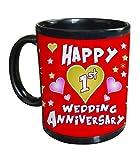 TiedRibbons® 1st Wedding anniversary Gift printed Coffee Mug(325ml,Black)