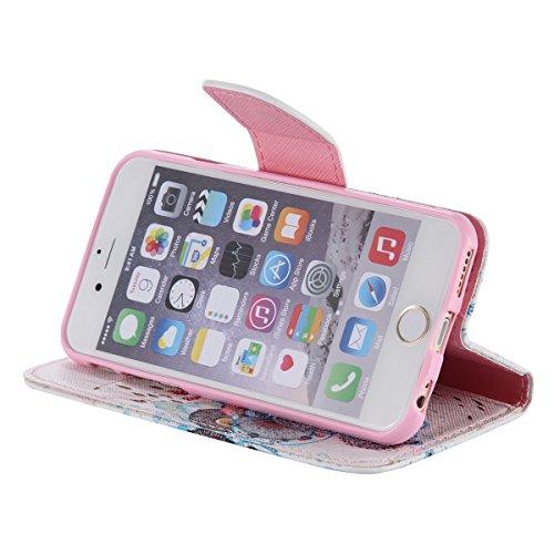 """iPhone 6 / iPhone 6S (4.7"""") Coque , Apple iPhone 6 / iPhone 6S (4.7-inch) Coque Lifetrut® [ Entourée de fleurs ] Luxe Premium Portefeuille Flip mignon Coque TPU souple Folio en cuir PU intégré dans la"""