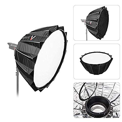 Aputure Light Dome II Studio Reflector Softbox Bowens Mount with Diffuser Cloth Honeycomb Grid Gel Holder Carry Bag for Interviews Filmmaking for Aputure LED Video Light with Oneshot Cleaning Cloth