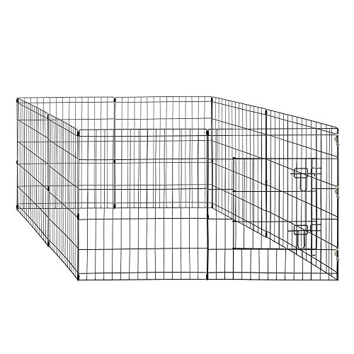 World Backyard Double Door Folding Metal Dog Crate Dog Cat Cage Kennel Leak-Proof Plastic Pan Tray (Double Door Cage)