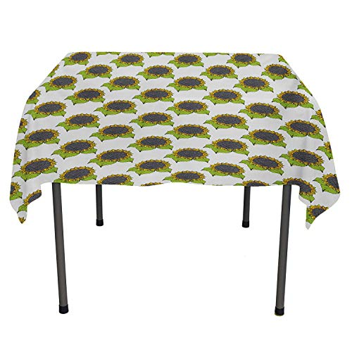 All of better Floral Tablecloth Clear Protector Hand Drawn Sketch Sunflowers with Vibrant Fresh Spring Leaves Apple Green Yellow Dark Taupe Spill-Proof Tablecloth Spring/Summer/Party/Picnic 60 by 60