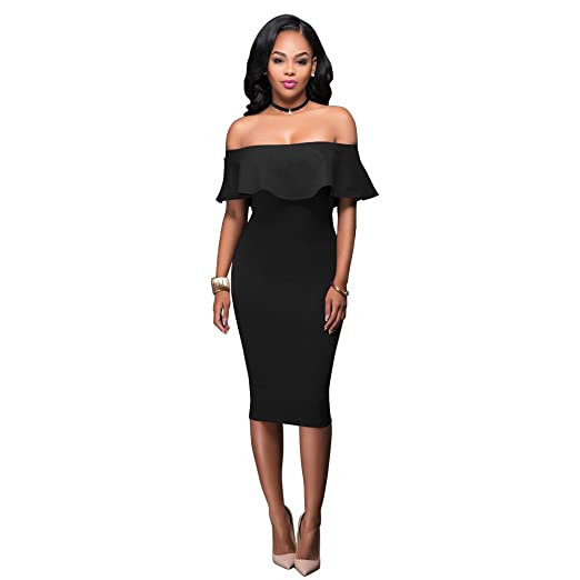 d32e8316ddd Image Unavailable. Image not available for. Color  VertHome Women s Falbala  Off Shoulder Sheath Dress Knee Length ...