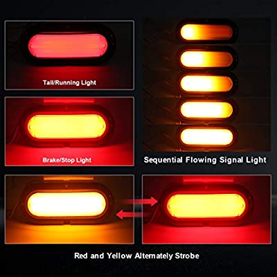 Q QUNSUNUS 6 inch Oval Stop Turn Tail Lights, Yellow/Red Stop Brake Sequential Turn Signal Tail Lights Flashing Warning Lights for Trailer RV Truck Pickup Boat Van-12/24V: Automotive