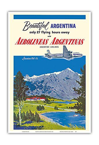 Beautiful Argentina   Aerolineas Argentinas  Argentina Airlines    Luxurious Douglas Dc 6S   Vintage Airline Travel Poster By Adolph Treidlerc 1955   Master Art Print   13In X 19In