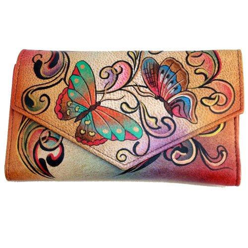 Anuschka Checkbook Wallet: Henna Butterfly – Henna Butterfly, Bags Central