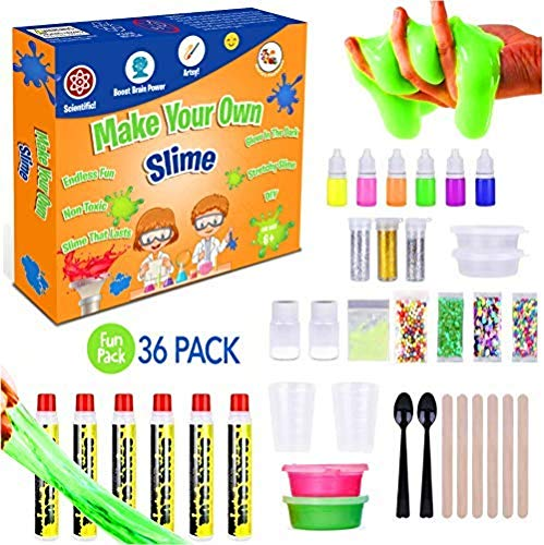 DIY Slime Making Kit For Girls, Boys, Kids and Children | Create Ultimate Crunchy Stretchy Floam Fluffy Galaxy Cloud Putty with Containers | Activator Clear Glue and Prime Supplies Accessories (Putty Top)