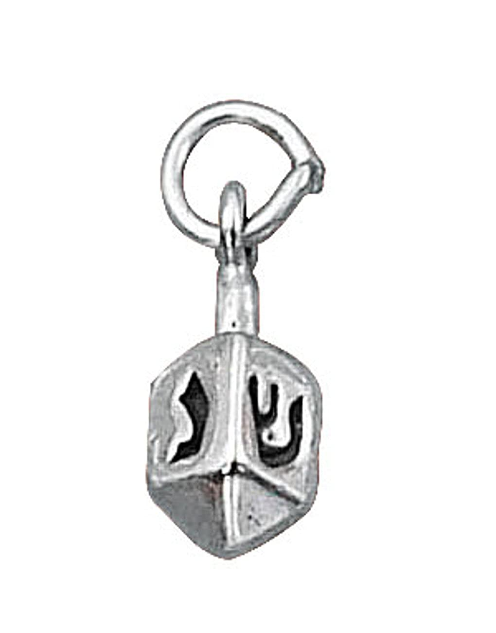 Sterling Silver Girls .8mm Box Chain 3D Dreidel Spinning Top Pendant Necklace