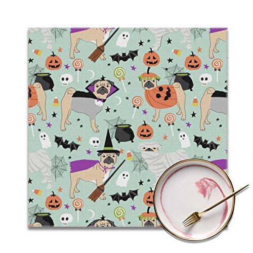 (HuiboJu Trading Pug Halloween Costume Placemats Set of 4 Heat-Resistant Placemats for Dining Table Polyester Fiber Stain Resistant Table Mats Washable Placemat Easy to)