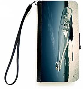 Rikki Knight™ Bottle with Ship on Beach PU Leather Wallet Type Flip Case with Magnetic Flap and Wristlet for Apple iPhone 5 &5s