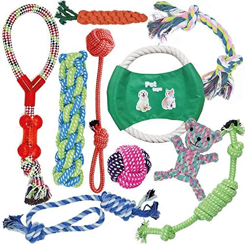KEPLIN Chew Toys for Dogs or Puppies, Ropes for Teething or Training, 100% Quality Natural Cotton, Gift for Small, Medium or Large Dogs (10 pack)
