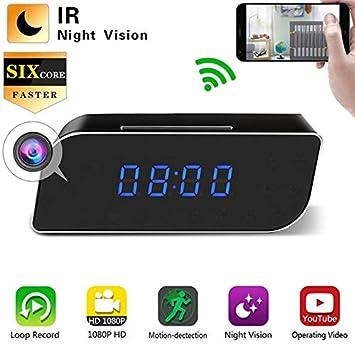Showyun WiFi Reloj Despertador con Cámara Espía Oculta, Cámara Inalámbrica 1080P Mini DVR Videocámara Alarma De Mesa Configuración De Mini Cámara con ...