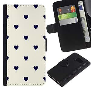 KingStore / Leather Etui en cuir / Samsung Galaxy S6 / Lunares Negro Beige Blanco