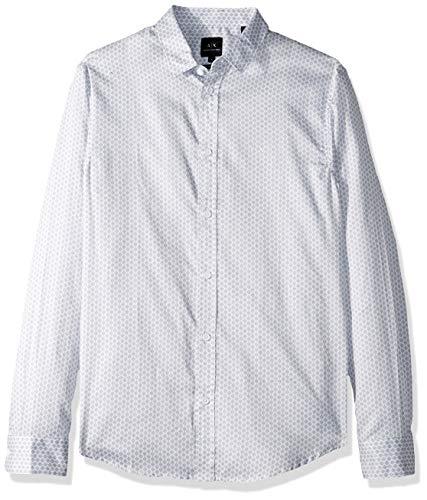 Armani Dress Shirts - A|X Armani Exchange Men's Patterned Long-Sleeve Cotton Button Down, White ROMBODOTS, L