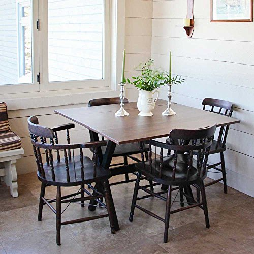 Solid Wood Drop Leaf Dining Room Table – Folding Kitchen Table to Save Space – Seats up to 6 People – Use as Desk, Sofa, Console or Vanity Table, Rustic Cocoa Brown Finish