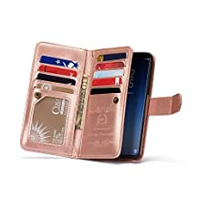 Galaxy S9 Leather Wallet Case,Samsung Galaxy S9 Case with Built-in 9 Card Slots,Gostyle Stripe Pattern Magnetic Detachable and Removable PU Flip Cover with Money Clip and Hand Strap(Rose Gold&White)
