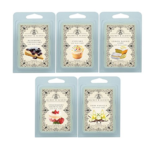 Secret and Scents Highly Scented Soy Wax Melts - 5 Assorted Wax Tart Cubes Variety Packs (Sweet Treats)