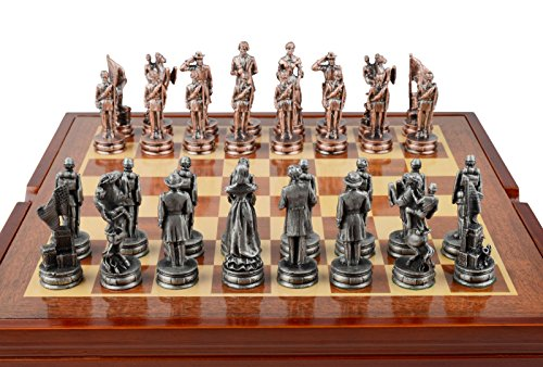 Civil War Themed Chess Set. 32 Pewter Pieces with Storage - Chess Piece Themed War