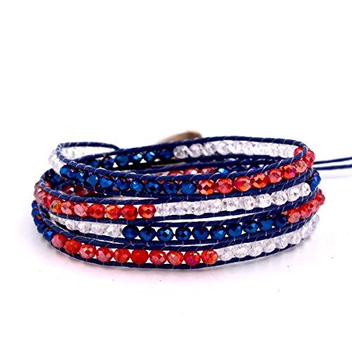Handmade 4 Wraps 4mm red white blue Crystal Beads Bracelet -