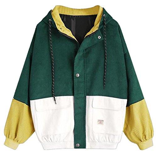 Bluestercool Women Corduroy Patchwork Oversize Long Sleeve Jacket Windbreaker Coat Overcoat Green