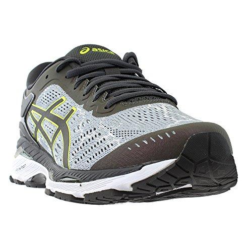 ASICS Mens Kayano 24 Lite Mid Grey/Dark Grey/Safety Yellow Running Shoe - 11.5