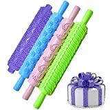 4 Pack Cake Decorating Embossed Rolling Pins,Textured NonStick Designs and Patterned Best Kit, Ideal for Fondant, Pastry, Icing, Clay, Dough