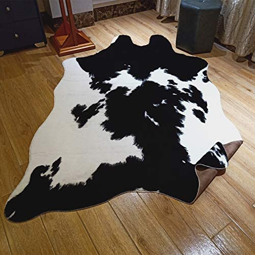 JACCAWS Faux Fur Black and White Cowhide Rug,4.6 x 6.6 Feet Cow Skin Area Rug Large Size. 4.6×6.6, Black and White