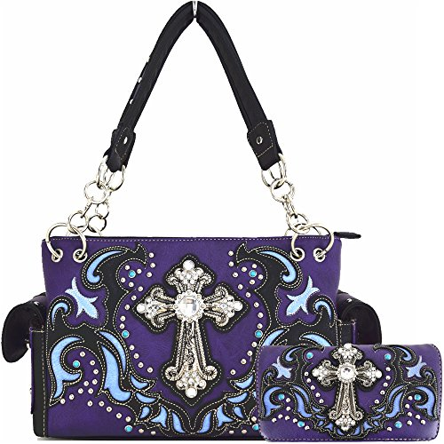 Western Style Rhinestone Cross Stud Concealed Carry Purse Laser Cut Handbag Women Shoulder Bag Wallet Set (Purple Set)