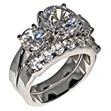 5 Ct. Bold Past Present & Future Style Cubic Zirconia Cz Bridal Engagement Wedding Ring Set (Round-shaped Center Stone Is 2.75 Cts)