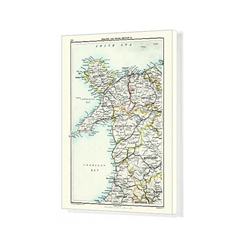 Media Storehouse 20x16 Canvas Print of Antique map, North Wales, Anglesey, Carnarvon, 19th Century (15231371)