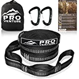 Pro Hammock Tree Straps with CARABINERS - 400LB Rated (1200LB Tested), Adjustable 30+2 Loops, Non-Stretch, Easy Setup, Heavy Duty, Tree Friendly