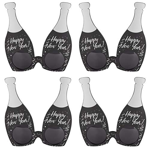 New Years Party Glasses - 4-Pack Happy New Year Champagne Bottle Plastic Sunglasses, Fun Novelty Decorations, NYE Party Favors, Holiday Party Supplies, Black, Fits Most Adults