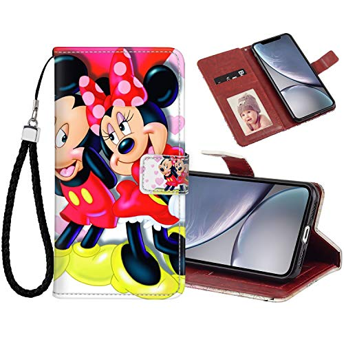 DISNEY COLLECTION iPhone Xr Wallet Case with Card Holder (6.1 Version) Mickey and Minnie in Love Hd Wallpaper for Mobile Phones and laptops Feature