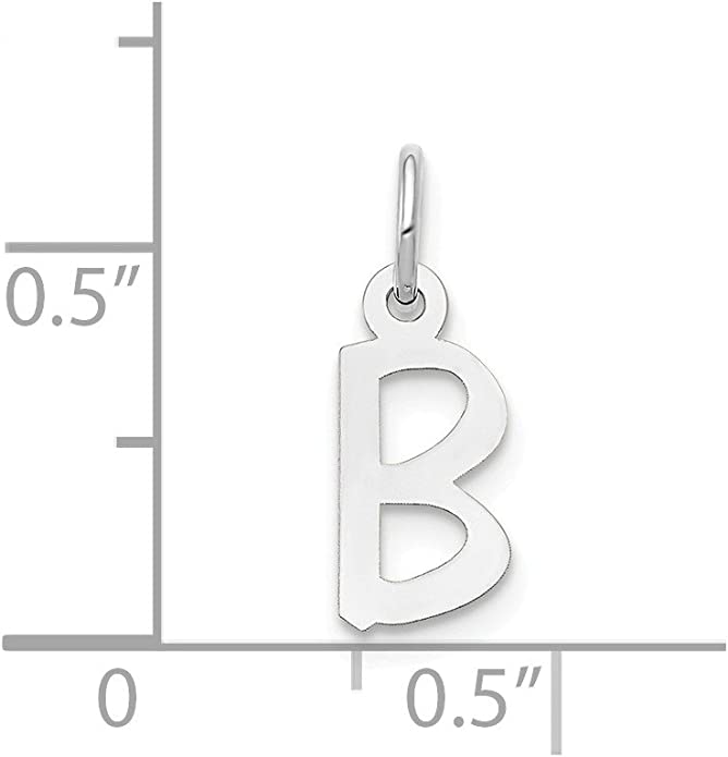 14k White Gold Small Slanted Block Initial D Charm Best Quality Free Gift Box