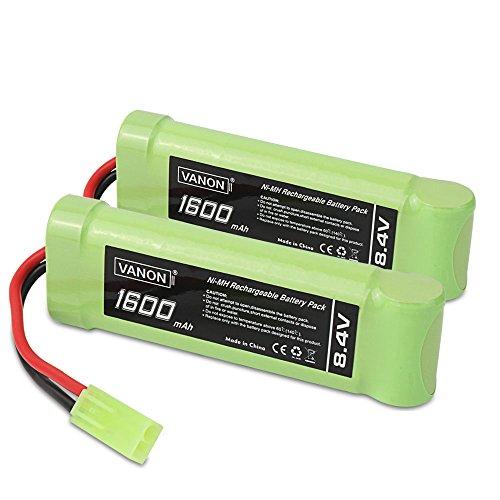 (8.4V NI-MH 1600mAh 7-Cell Flat Battery Pack with Mini Tamiya Connector(2 Pcks))