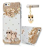 Iphone 6 Case (4.7 Inch) - Mavis's Diary 3D Handmade Bling Crystal Opal Owls Flowers Branch Shiny Glitter Sparkly Diamond Rhinestone Clear Hard PC Case Cover with Cute Owl Dust Plug & Soft Clean Cloth