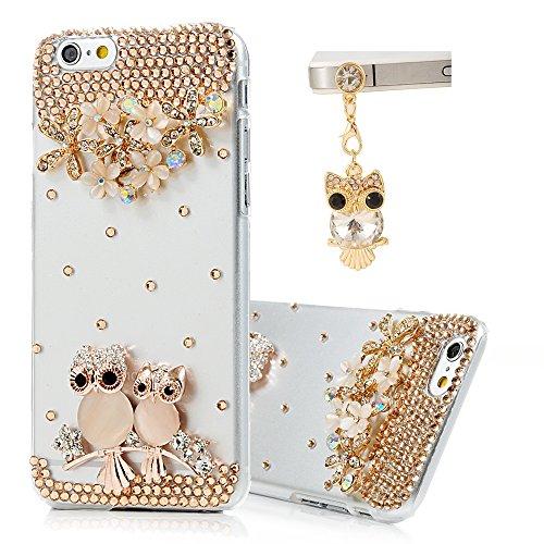 Iphone 6 Case (4.7 Inch) - Maviss Diary 3D Handmade Bling Crystal Opal Owls Flowers Branch Shiny Glitter Sparkly Diamond Rhinestone Clear Hard PC Case Cover with Cute Owl Dust Plug & Soft Clean Cloth