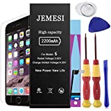 JEMESI Battery for Model iPhone 6, New Cycle 2200mAh Li-ion Battery Replacement-with Repair Tool Kits,Instructions and Screen Protector [12-Month Warranty]