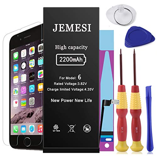 JEMESI Battery for Model iPhone 6, New 0 Cycle of 2200mAh Li-ion Battery Replacement-with Repair Tool Kits,Instructions and Screen Protector [12-Month Warranty]