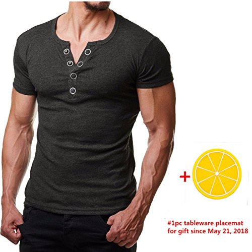 Paymenow Men Clearance Short Sleeve Tee Casual Summer Button