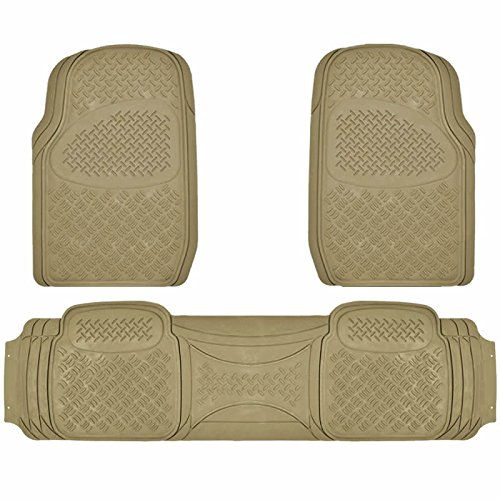 U.A.A. INC. All Weather Heavy Duty Rubber Solid Beige Front Rear Floor Mats for Car SUV Van Truck