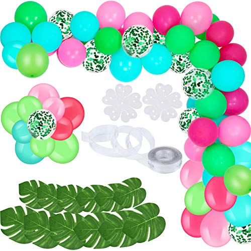 90 Pieces DIY Balloons Garland Blue Pink Green Confetti Balloons with Arch Strip Tools and Tropical Artificial Leaves for Summer Themed Party -