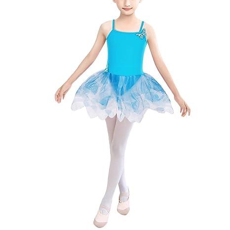 HUAANIUE Ropa de Gymnasia Mini Vestido deFalda de Ballet Infantile Adecuado para Niña DE 3-