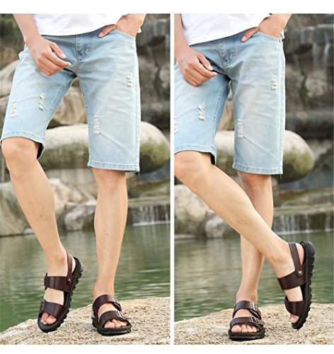 46 Chaussures BROWN D'été Flops Ceinture De Flip Boucle xie Véritable Sandales Taille Confortable Cuir Hommes Plage à Chaussures Mode Ouvrir Orteil EU44 Extérieure 38 1ww5qBx